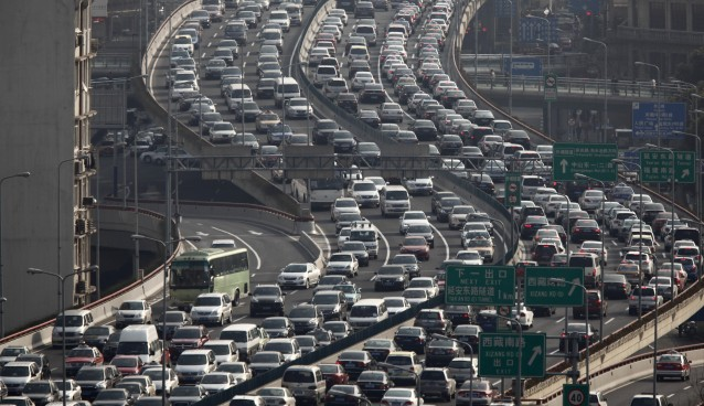 A general view of heavy traffic on a highway during the morning rush hours in Shanghai